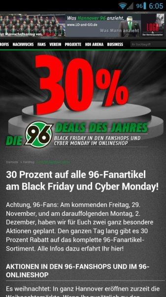 Black Friday im Hannover 96 Shop: 30% auf alles