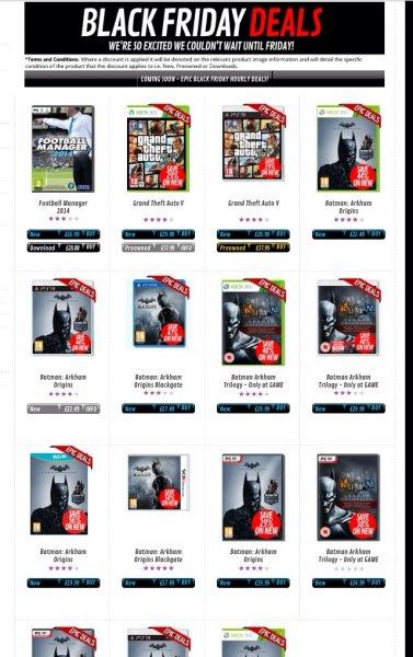 Black Friday bei GAME: u.a. GTA 5 (X360/PS3) für 39,53 € / Batman Arkham Trilogy (X360/PS3) für 39,53 € / Batman Arkham Origins (Wii U) für 23,99 €/ alle inkl. Versand und dt. Sprache