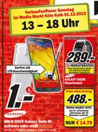 [Köln] Samsung Galaxy Note 3 für 488€ - 100€ = 388€ nur am 1.12.