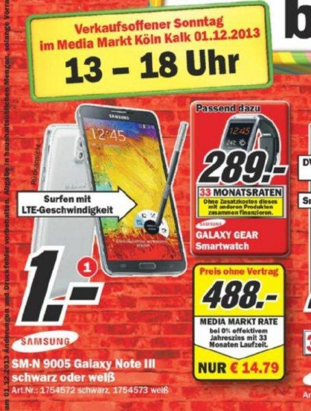 Samsung Galaxy Note III weiss oder schwarz nur am 01.12.2013 bei MediaMarkt Köln-Kalk