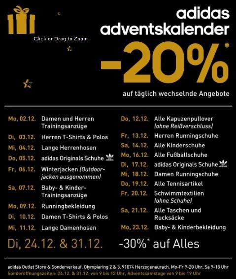 [Lokal 91074 Herzogenaurach] adidas Factory Outlet - 24.12.2013 & 31.12.2013 - 30% RABATT AUF ALLES