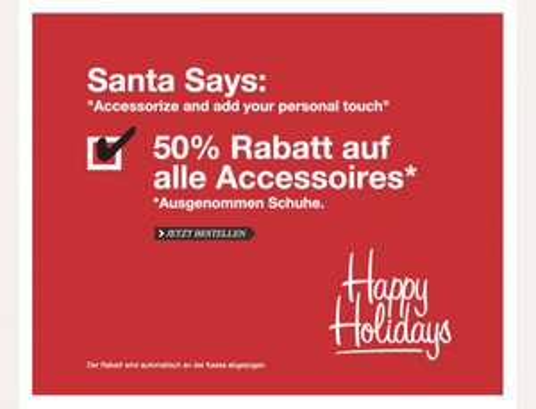 50% Rabatt auf alle Accessoires bei Mexx (online und offline)