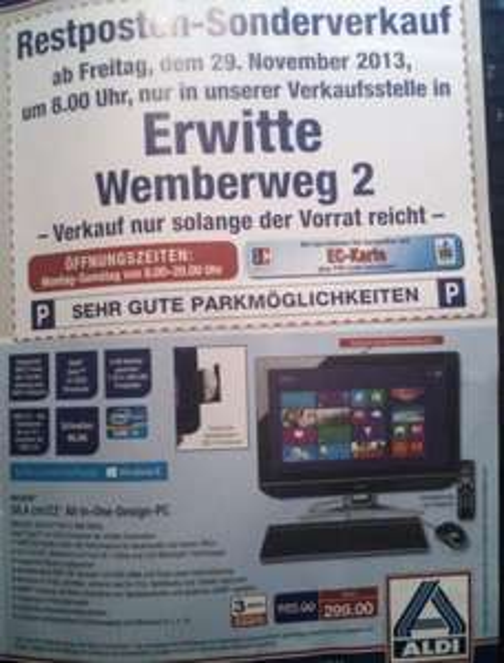 ALDI Elektronik Restosten-Verkauf - lokal Erwitte 59597