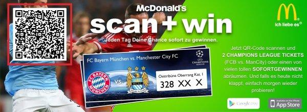 [München] Wieder da: McDonalds scan+win - Sofortgewinne,Treuepunkte und die Chance auf Champions-League Tickets. Kostenlose Teilnahme