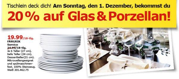 [Ikea Köln Godorf] Verkaufsoffener Sonntag am 1.12.  mit verschiednen Angeboten und 20% auf Glas und Porzellan