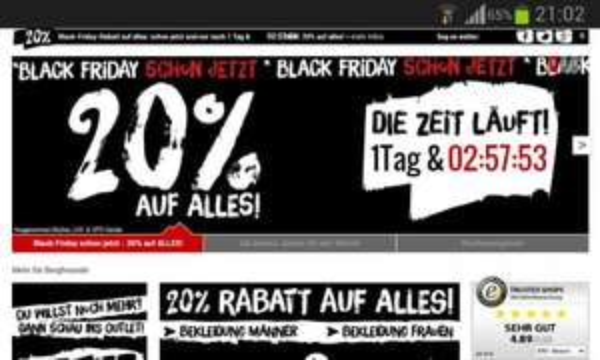 20% Rabatt bei BERGFREUNDE auf gesamtes Sortiment - Black Friday