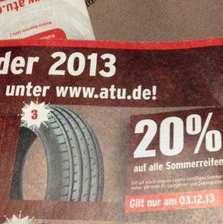 ATU: 20% auf alle Sommerreifen - nur am 03.12.13