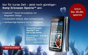 o2 myhandy: Sony Ericsson Xperia Arc für 17,50 x 24 = 420€ (Android 2.3 Smartphone)