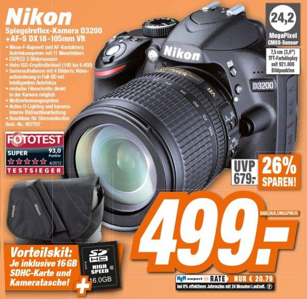 Nikon D3200 + AF-S DX 18-105 + 16GB SD-Karte + Tasche