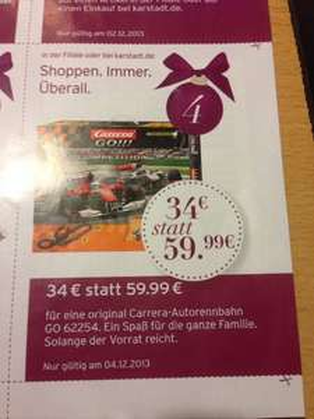 [Karstadt online/offline mit Gutschein] Carrera GO 62254 Autorennbahn für 34 € nur am 04.12.