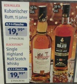 Ron Mulata Kubanischer Rum, 15 Jahre 19,99Euro  (Aldi Süd)