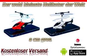 RC 8cm Welt kleinster Mini Helikopter Hubschrauber 3,5 Kanal Android Iphone Ipad
