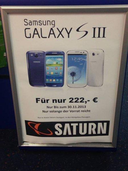 Nur noch heute: Samsung Galaxy S3 III für 222 Euro bzw 249 Euro - Lokal Saturn Stuttgart