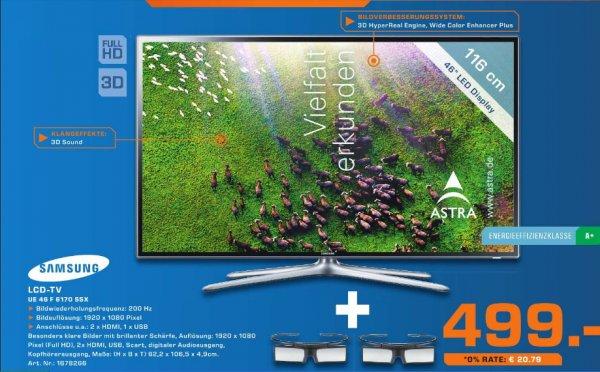 [Saturn Bergisch Gladbach ] Samsung UE46F6170 117 cm (46 Zoll) 3D-LED-Backlight-Fernseher, EEK A+ (Full HD, 200Hz CMR, DVB-T/C/S2, CI+) Tagesangebot nur am 6.12  499€