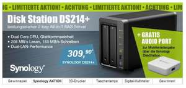 SYNOLOGY DS214+ inkl. Synology Audio Remote Funk-Fernbedienung als kostenlose Beilage!