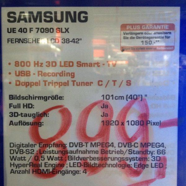 (Lokal) Samsung 40F7090 + Galaxy Tab 3 7.0 für in Saturn Mannheim