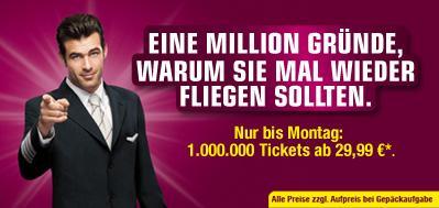 Nur bis Montag: Germanwings verkauft 1.000.000 Tickets ab 29,99 € INKL. Steuern!