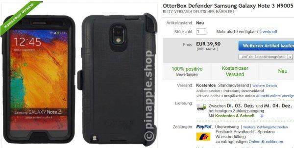 [Galaxy Note 3] Otterbox Defender Serie für 39,90€ inkl. Blitzversand aus Deutschland (!) vgl. Preis: 65,94€