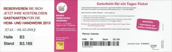 Kostenlose Tickets für die Heim und Handwerk 2013 und Food Life in München sofort