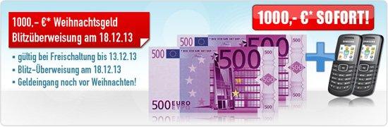 Handyvertrag mit Auszahlung von 500,- oder 1.000,- Euro