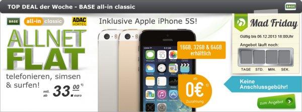 (Base) Iphone 5s ab 33€ monatlich