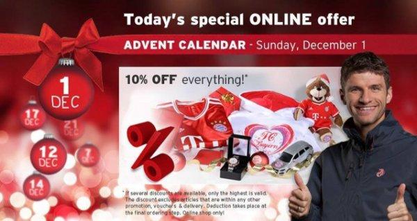 Heute 10 % auf alles im fcb.de online shop