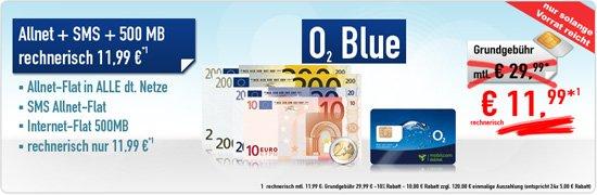 Mobilcom Debitel O2 Allnet+Sms+Internet flat für 11,99