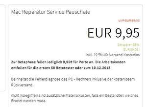 50 x Macbook,Notebook Reparatur Service Pauschale inkl. Versand @hazafix.de