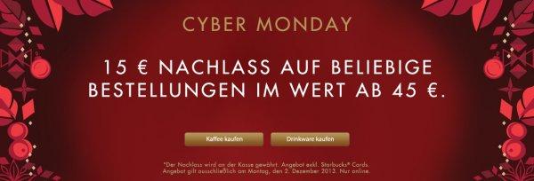 Starbucks: 15€ Nachlass auf Bestellungen ab 45€ - nur online & nur am 02.12.2013