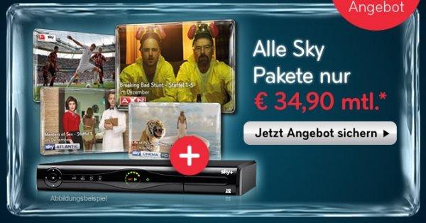 Sky Welt plus Film, Sport UND BuLi und HD Premiumsender und SkyGo für 34,90