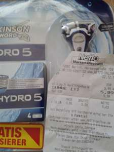 [NETTO] Wilkinson Hydro 5 Rasierklingen 5 Stck + Rasierer für 5,99€ - 3,00€ durch Scondoo Cashback