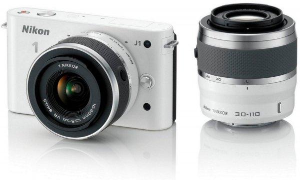 Nikon 1 J1 Kit 10-30 mm + 30-110 mm weiß für 402,20€@ Cyber Monday