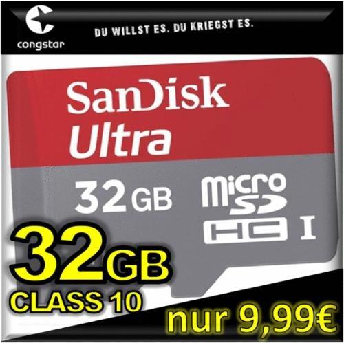 WIEDER VERFÜGBAR - aber alles nur noch bis 31.12.13: congstar + 32GB SanDisk microSDHC CLASS 10 für nur 9,99€