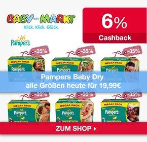 Pampers Baby Dry alle Größen für 19,99€ im Megapack  ab 20€ frei Haus! @ baby-markt.de & 6% Qipu