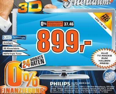 """Saturn Neckarsulm: Philips 46PFL8505K für 899€ und 40PFL8505K für 779€ - 40"""" und 46"""" FullHD 3D LED, Triple-Tuner, 200Hz, 1ms- PVG 1145€ / 949€ und mehr gute Angebote!"""