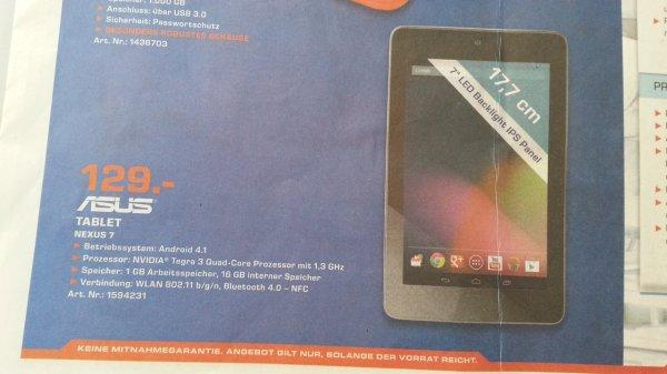 Nexus 7 16 GB nur heute bei Saturn Köln