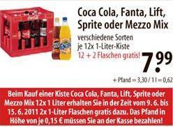 [REGIONAL] Kasten Coke, Mezzo Mix, Fanta, Sprite oder Lift 12x 1L + 2x 1L dazu bei V-MARKT ab 9.6.
