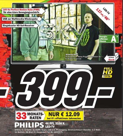 [MM Idar-Oberstein ]  Philips 46PFL3108K/12 117 cm (46 Zoll) LED-Backlight-Fernseher, EEK A+ (Full HD, 100Hz PMR, DVB-T/C/S2, CI+)  399€
