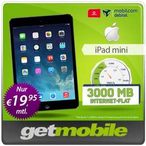 Apple iPad Mini Retina Wi-Fi + Cellular 16GB mit  3GB Vodafone Internet-Flat (mobilcom-debitel) über getmobile