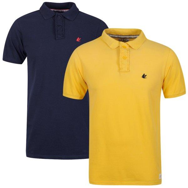 2 Polos, gute Qualität, Baumwolle, blau/gelb, zavvi,  11,40€