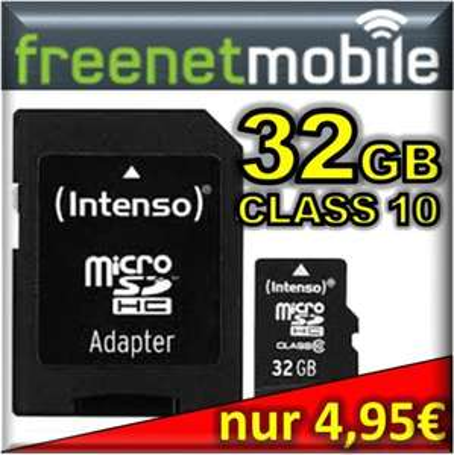 freenetMobile / Klarmobil SIM-Karte + 32GB Intenso micro SDHC (SD) Class 10 für 4,95€