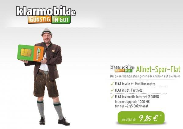 [Groupon] klarmobil.de Allnet-Flat inkl. Internet-Flat (500MB) für 9,85 € / Monat (o2)
