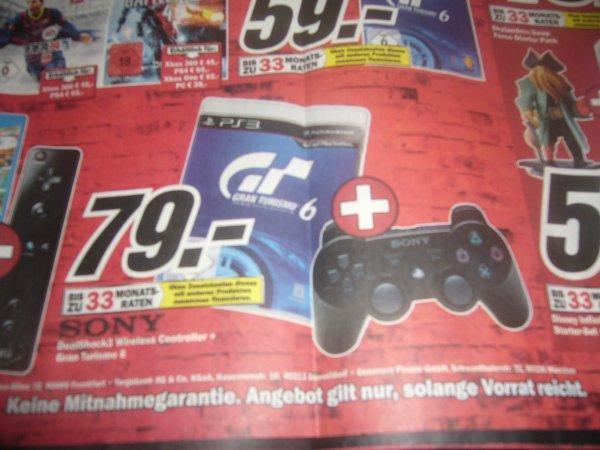 PS3 Gran Turismo 6 + DualShock 3 Controller für 79 Euro bei Media Markt