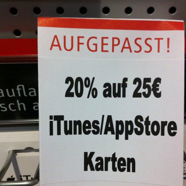 (Lokal HH?) 20% auf 25 Euro iTunes Guthaben