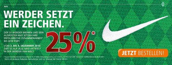 25% auf Nike-Ausrüstung im Werder-Shop