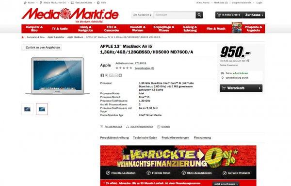 """Media Markt Ludwigshafen ab Morgen:  Apple 13"""" MacBook Air i5 1,3GHz/4GB/128GB"""