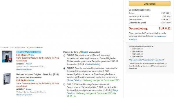 Batman: Arkham Origins PS3 + Steelbook für PS3 Käufer der letzten Tage für 18,22 € auf Amazon.de