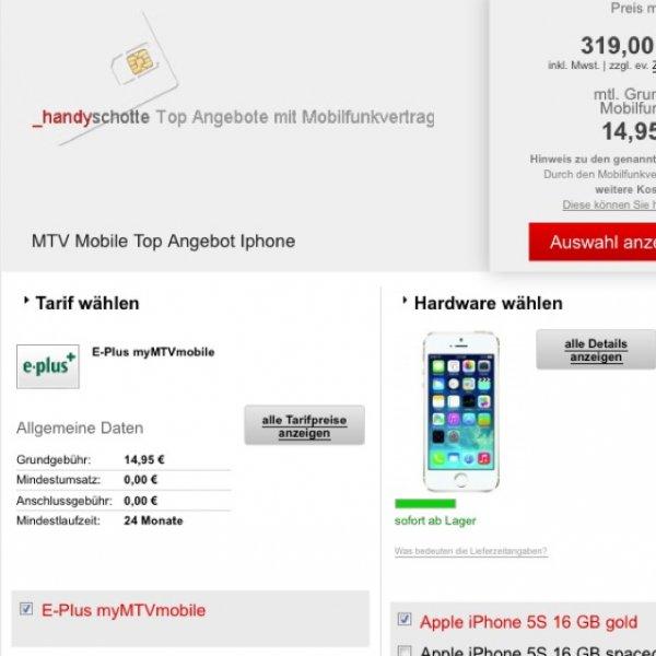 iPhone 5s mit MyMTVMobile -> guter Deal