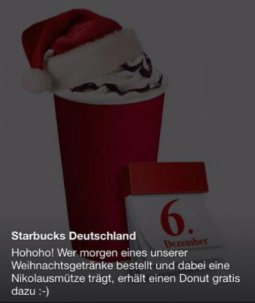 Starbucks - Weihnachtsgetränk kaufen + Gratis Donut erhalten [mit Nikolausmütze auf dem Kopf]