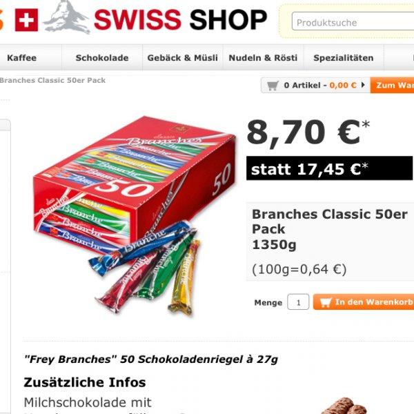 """MIGROS """"Frey Branches"""" 50 Schokoladenriegel à 27g"""